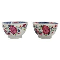 Pair of Chinese Export Porcelain Famille Rose Tea Bowls