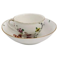German Frankenthal Carl Theodore Hard Paste Porcelain Floral Teacup and Underplate