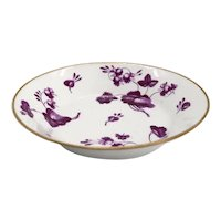 English Worcester Flight, Barr and Barr Porcelain Puce Floral Teacup Saucer