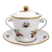 English Spode Gilt Porcelain Two-Handle Chocolate Cup with Cover and Stand