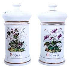 Pair of French Old Paris Painted and Gilt Porcelain Apothecary Jars
