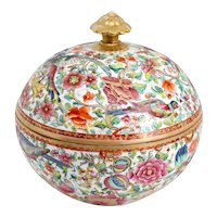 Chinese Export Round Gilt Porcelain Floral Bird and Floral Lidded Bowl