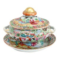 Chinese Export Porcelain Gilt Rose Medallion Tureen with Underplate