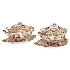 Pair English Grainger Worcester Gilt Hard Paste Porcelain Tureens and Underplates
