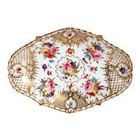 English Grainger Worcester Gilt Hard Paste Porcelain Floral Tray