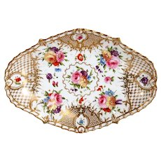 English Grainger Worcester Gilt Hard Paste Porcelain Floral Tray