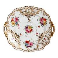 English Grainger Worcester Gilt Hard Paste Porcelain Floral Dessert Tray with Handles