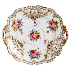 English Grainger Worcester Gilt Hard Paste Porcelain Floral Dessert Tray with Handles