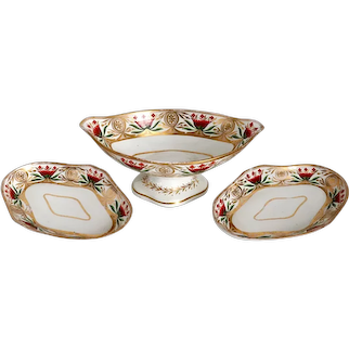 Set of Three English Georgian Gilt Soft Paste Porcelain Compote and Underplate Trays