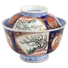 Japanese Arita Hizen Porcelain Imari Rice Bowl and Cover