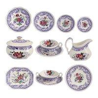 Set of English Copeland Spode Mayflower Lavender Transferware Earthenware Dinnerware (103 pieces)