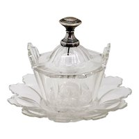 Bavarian Cut Glass Butter Dish and Underplate