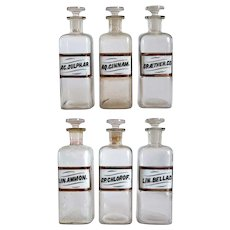 Set of Six American Victorian Whitall Tatum Glass Label Apothecary Drug Store Bottles
