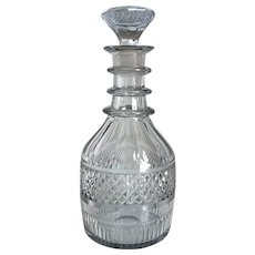 Irish Georgian Waterford Crystal Wheel Cut Ring Neck Decanter
