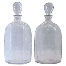 Pair of English Georgian Blown and Cut Glass Decanter Hexagonal Case Bottles