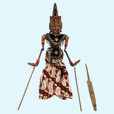 Vintage Indonesian Painted Wood and Batik Rod Puppet Doll (Wayang Golek)