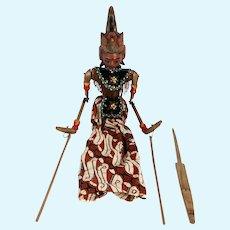 Indonesian Painted Wood and Batik Rod Puppet Doll (Wayang Golek)