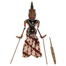 Vintage Indonesian Painted Wood and Batik Rod Puppet Doll (Wayang Golek)