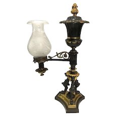 French Empire Gilt Bronze and Cut Glass Argand One-Arm Garniture Oil Lamp