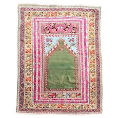 Vintage Wool and Cotton Multicolor Prayer Mat Rug