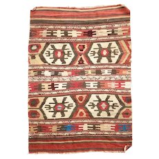 Vintage Small Multicolor Geometric Pattern Flat Weave Rug