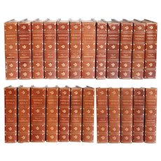 Set of 24 Leather Bound Books: Waverly Novels by Sir Walter Scott