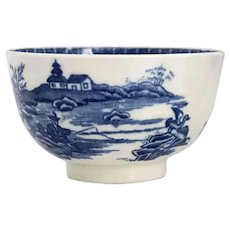 English Worcester Dr. Wall Blue and White Porcelain Fisherman and Cormorant Tea Bowl