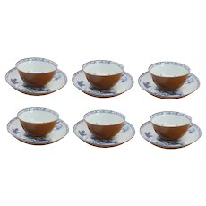 Set of Six Chinese Export Batavian Porcelain Nanking Cargo Shipwreck Tea Bowls and Saucers