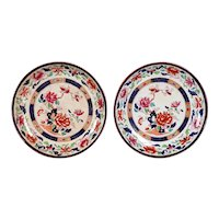 Pair of English Brownfield & Son Ironstone Pottery Imari Palette Plates