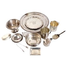 20 English, Mexican and American Sterling Silver Holloware and Flatware Items