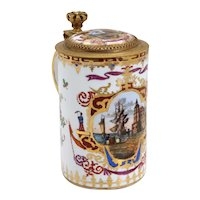 Rare Early German Meissen Gilt Silver, Hand Painted and Gilt Porcelain Tankard