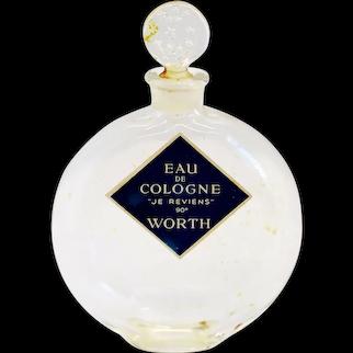 Vintage French Worth Je Reviens Lalique Glass Eau de Cologne Perfume Flacon Bottle