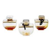 Three Vintage French Caron Fleurs de Rocaille Glass Perfume Flacon Bottles