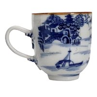 Chinese Export Qianlong Canton Brown, Blue and White Porcelain Teacup