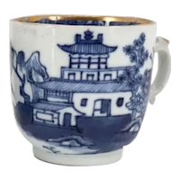 Collection of Six Chinese Export Canton Gilt, Blue and White Porcelain Teacups