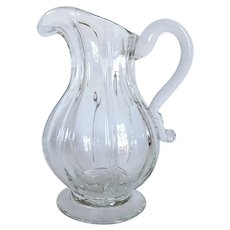 Early American Flint Glass Pillar Molded Footed Pitcher / Carafe