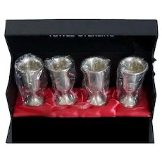 Vintage Set of Four American Towle Sterling Silver Cordial / Shot Glasses with Box