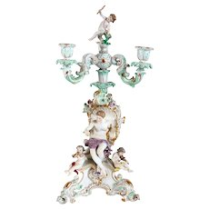 German Meissen Rococo Revival Porcelain Figural Three-Part Candelabrum