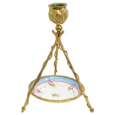 French Sevres Style Gilt Bronze and Porcelain One-Light Tripod Candlestick and Plate