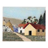 Small Vintage Italian Florentine RENZO SCARPELLI Pietra Dura Landscape Plaque