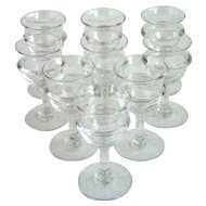 Set of 9 French Baroque Style Handblown Glass Cordial Glasses