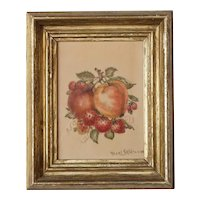 American Victorian HAZEL SKIDMORE Theorem Painting, Still Life of Fruit