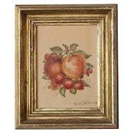 American Victorian HAZEL SKIDMORE Theorem Painting, Still Life of Fruit