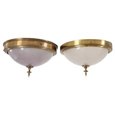 Pair of American Belcaro Mansion Brass Mounted Engraved Glass Domed Ceiling Lights