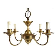 Small Vintage Belcaro Mansion Brass Four-Light Chandelier