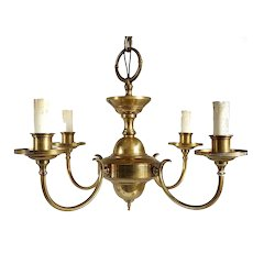 Small Vintage Belcaro Mansion Brass Four-Light Chandelier