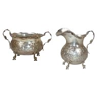 German Neresheimer .800 Silver Cream Jug and Sugar