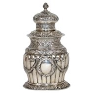 German Hanau Louis XVI Style Silver Tea Caddy