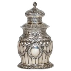 German Hanau Louis XVI Style Silver Tea Caddy