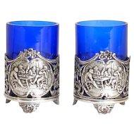 Pair of Dutch Hooijkaas Silver and Cobalt Glass Mustard Pots